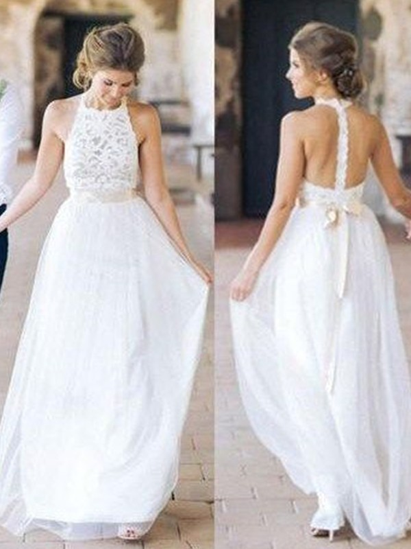 Discount A-Line Tulle Halter Sleeveless Floor-Length Wedding Dress