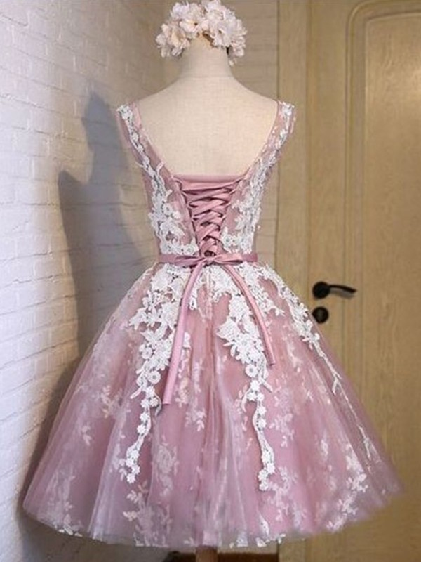 Elegant A-Line Scoop Tulle Short Dress