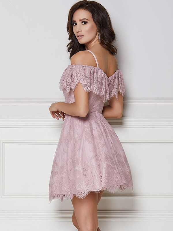 New A-Line Lace Off-the-Shoulder Short Dress
