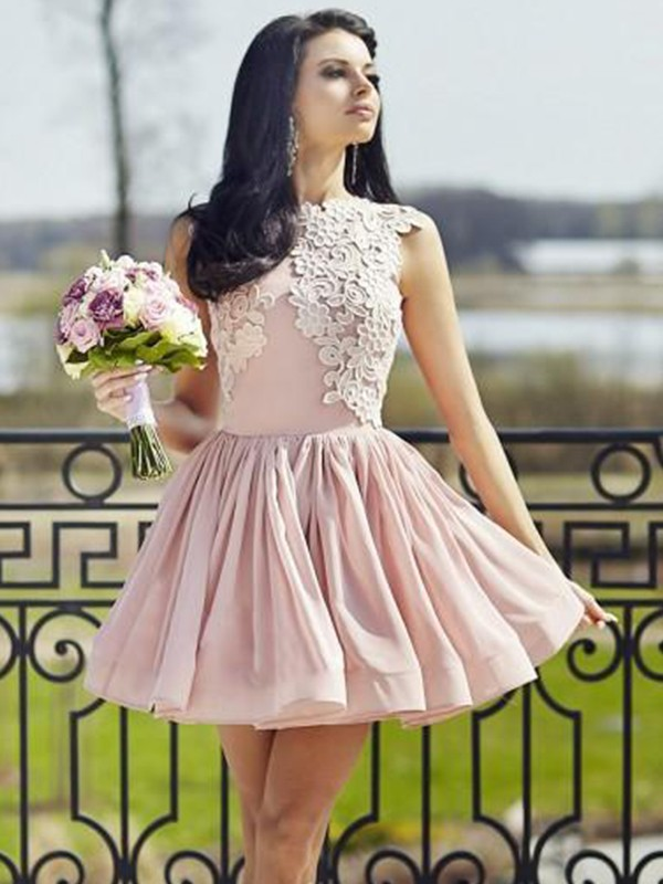 Glamorous A-Line Scoop Sleeveless Chiffon Short Dress