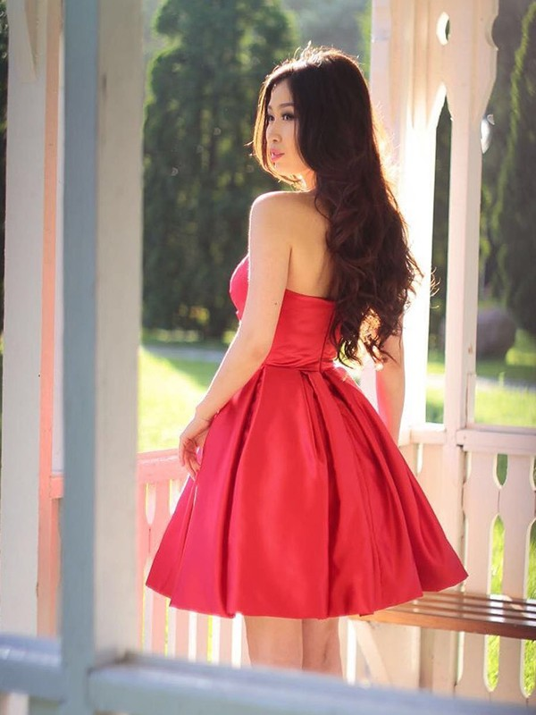 Affordable A-Line Satin Sweetheart Sleeveless Short Dress