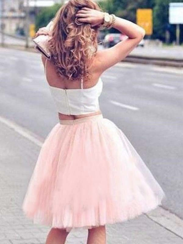 Fashion A-Line Tulle Spaghetti Straps Knee-Length Two Piece Dress
