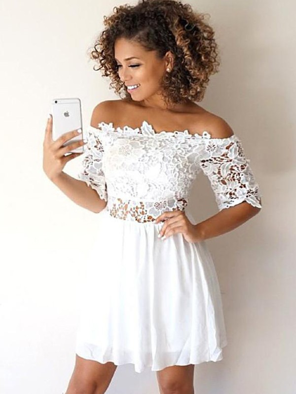 Elegant A-Line Chiffon Off-the-Shoulder Short Dress