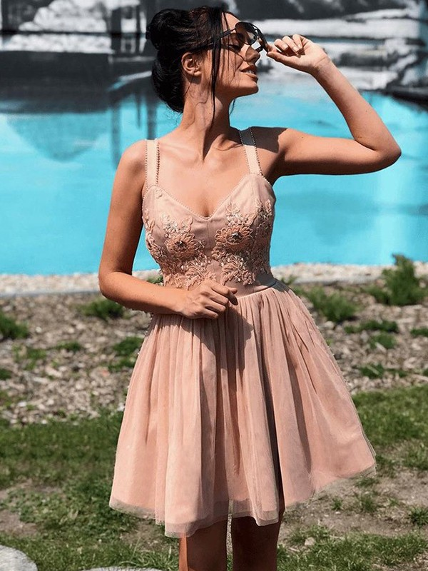Charming A-Line Sleeveless Straps Tulle Short Dress