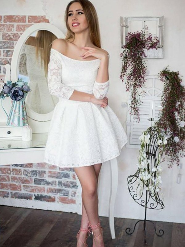 Gorgeous A-Line Off-the-Shoulder Lace 3/4 Sleeves Short Dress