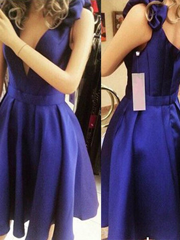 Perfect A-Line Sleeveless Straps Satin Short Dress