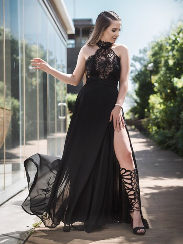 Cheap A-Line Sleeveless Halter Floor-Length Lace Tulle Dress