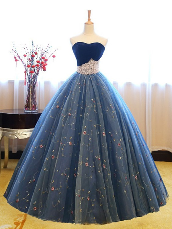 New Ball Gown Sleeveless Sweetheart Floor-Length Net Dress