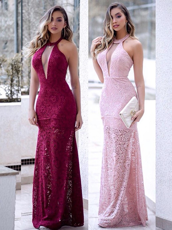 Chic Sheath Sleeveless Halter Floor-Length Lace Dress