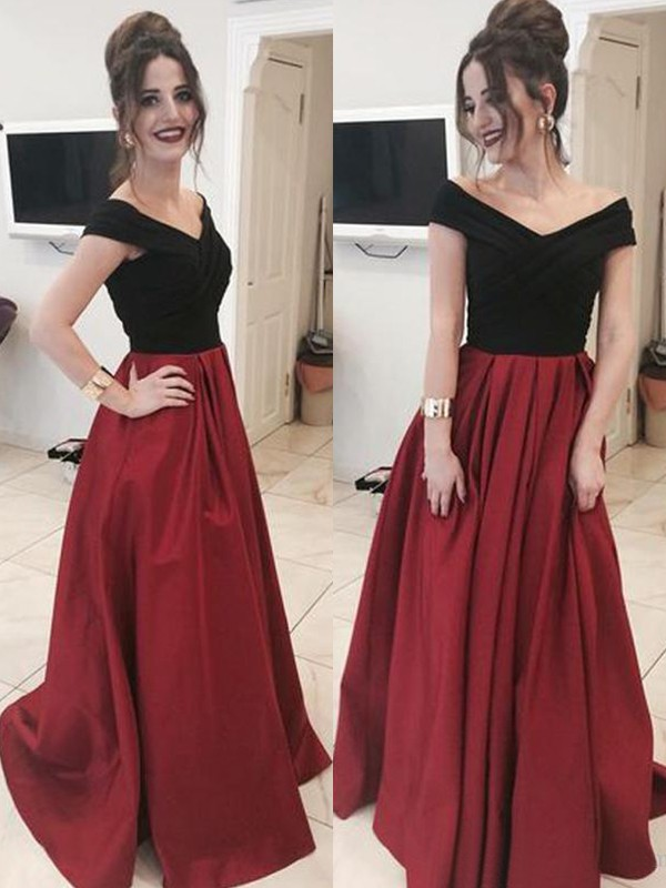 Exquisite A-Line Sleeveless Off-the-Shoulder Sweep/Brush Train Satin Dress