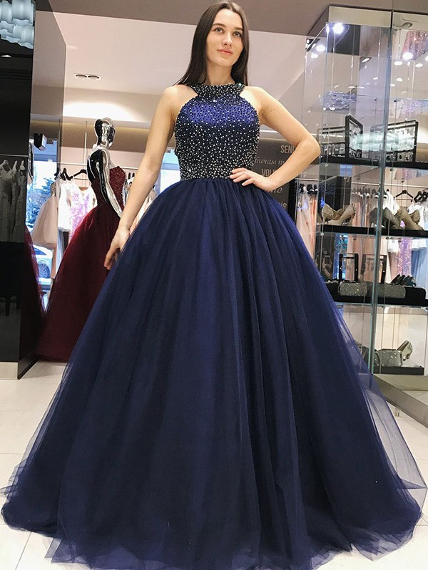 Elegant Ball Gown Sleeveless Halter Sweep/Brush Train Tulle Dress