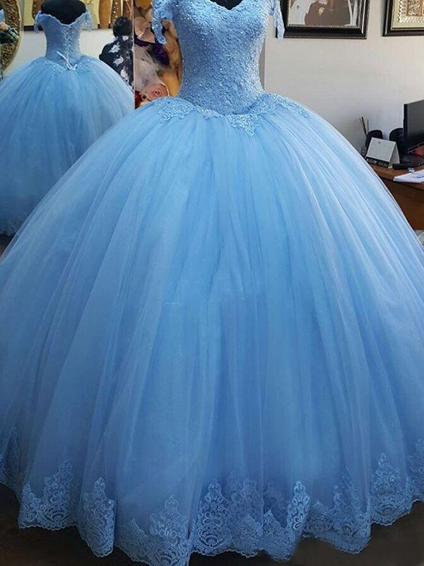 New Ball Gown Sleeveless Off-the-Shoulder Sweep/Brush Train Lace Tulle Dress