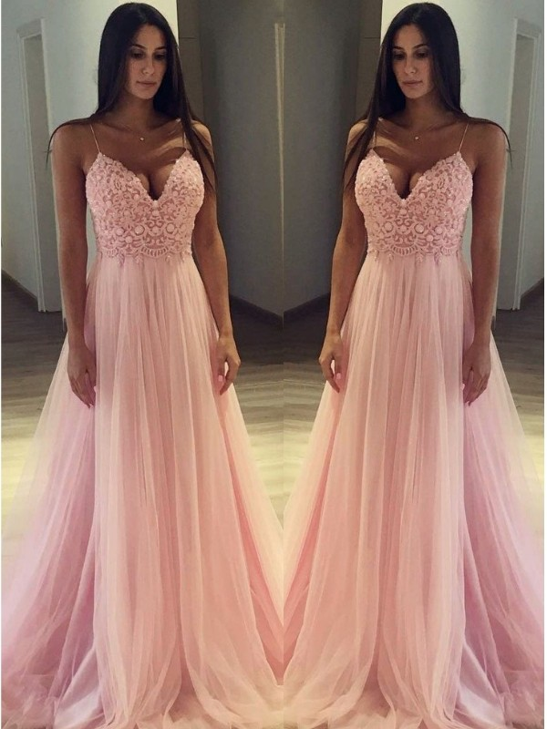 Elegant A-Line Sleeveless Spaghetti Straps Sweep/Brush Train Tulle Dress
