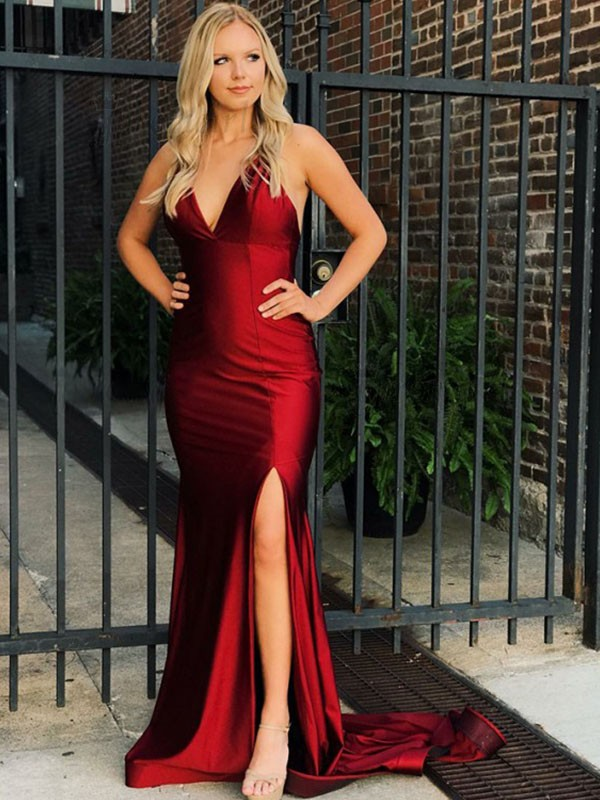 Exquisite Mermaid Sleeveless V-neck Sweep/Brush Train Spandex Dress