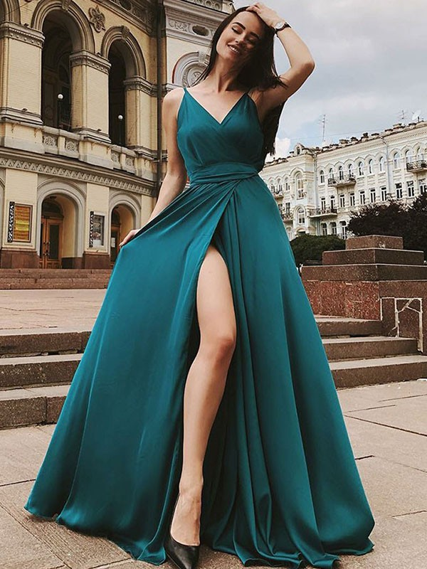 Charming A-Line Sleeveless Straps Sweep/Brush Train Satin Chiffon Dress