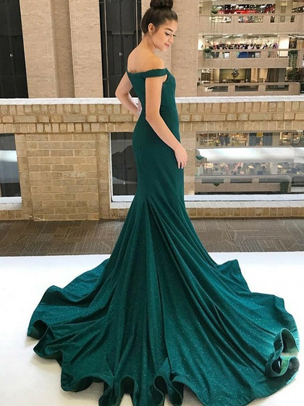 Amazing Mermaid Sleeveless Off-the-Shoulder Sweep/Brush Train Sequins Dress