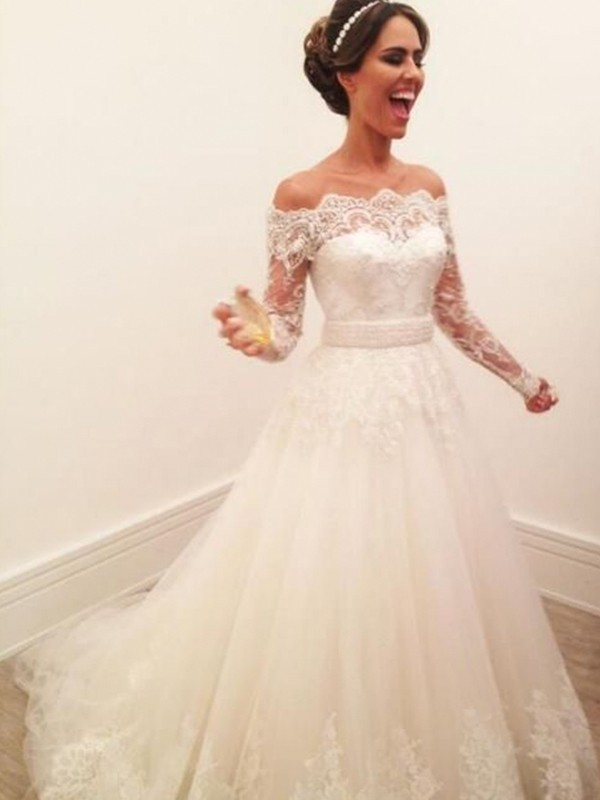 Fashion A-Line Off-the-Shoulder Long Sleeves Sweep/Brush Train Lace Tulle Wedding Dress