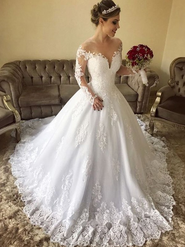 Nice Ball Gown Off-the-Shoulder Long Sleeves Sweep/Brush Train Lace Tulle Wedding Dress