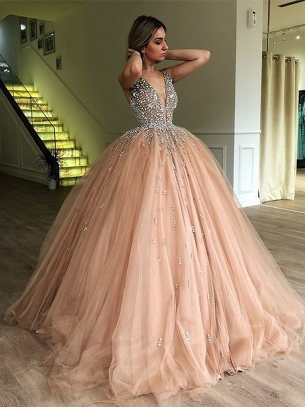 Chic Ball Gown V-neck Sleeveless Floor-Length Tulle Dress
