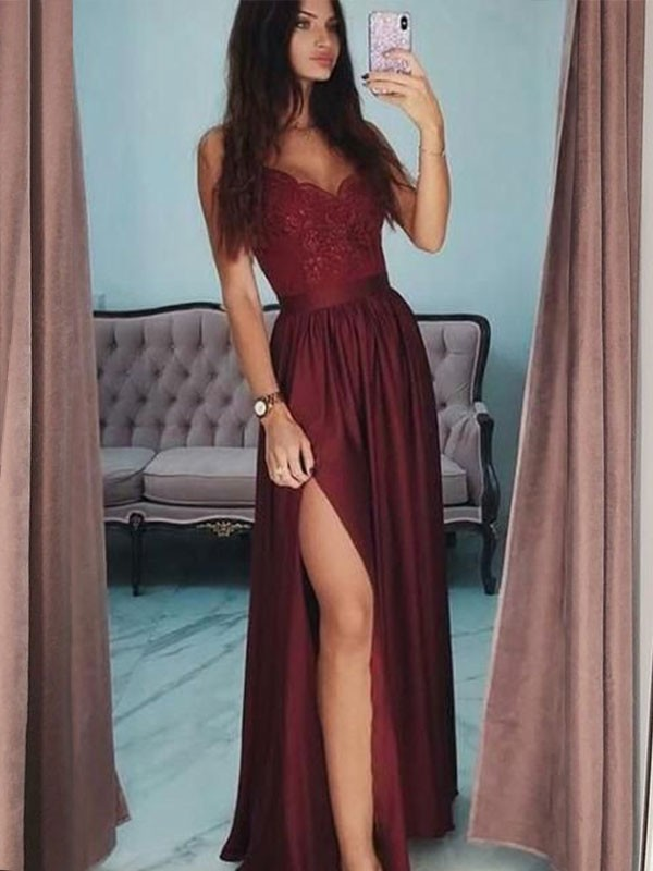 Chic A-Line V-neck Sleeveless Floor-Length Lace Satin Dress