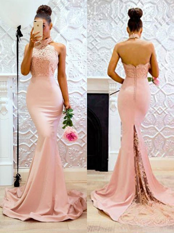 Fashion Mermaid Sleeveless Halter Sweep/Brush Train Lace Satin Dress