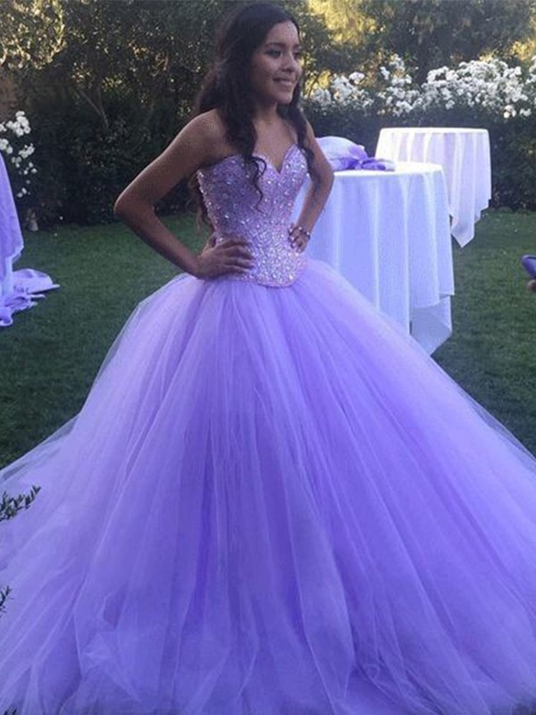 Amazing Ball Gown Tulle Sweetheart Sleeveless Sweep/Brush Train Dress
