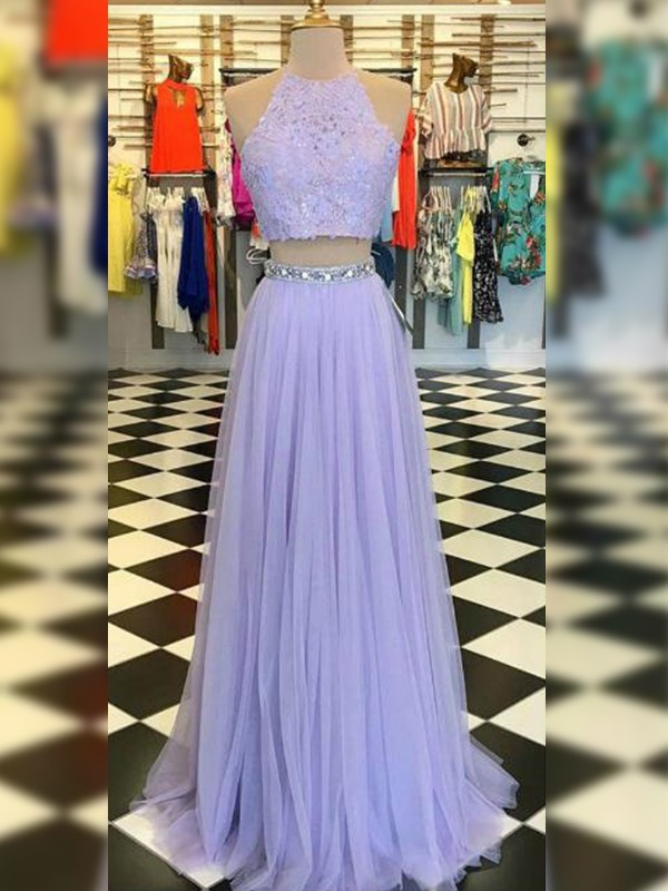 New A-Line Tulle Lace Halter Sleeveless Floor-Length Two Piece Dress