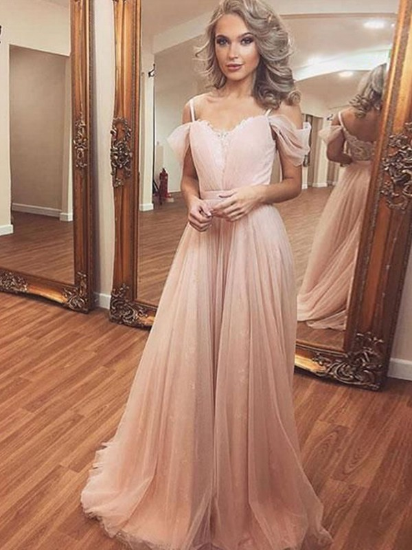 Chic A-Line Tulle Off-the-Shoulder Sleeveless Sweep/Brush Train Dress