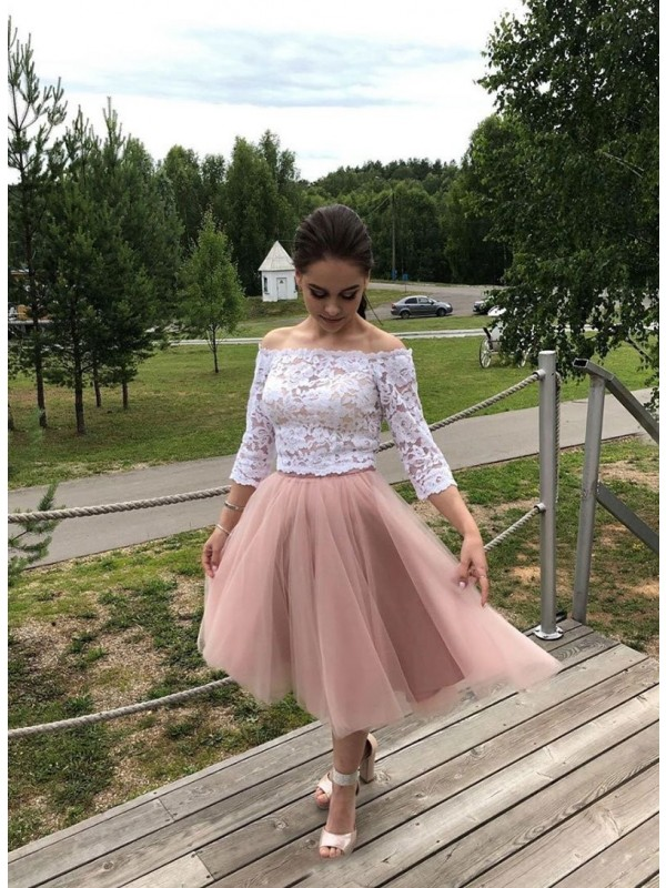 Chic A-Line Tulle Lace Off-the-Shoulder Long Sleeves Tea-Length Dress