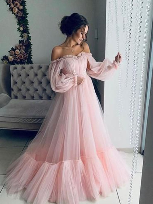 New Arrival A-Line Tulle Off-the-Shoulder Long Sleeves Floor-Length Dress