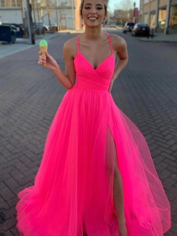 Elegant A-Line Sleeveless Tulle V-neck Sweep/Brush Train Dress