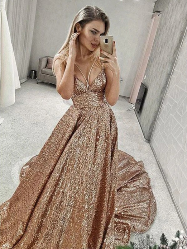 Elegant A-Line Sequins Spaghetti Straps Sleeveless Court Train Dress