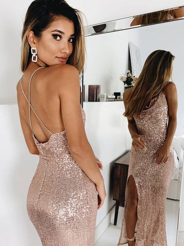 Gorgeous Mermaid Spaghetti Straps Sleeveless Sequins Ankle-Length Dress