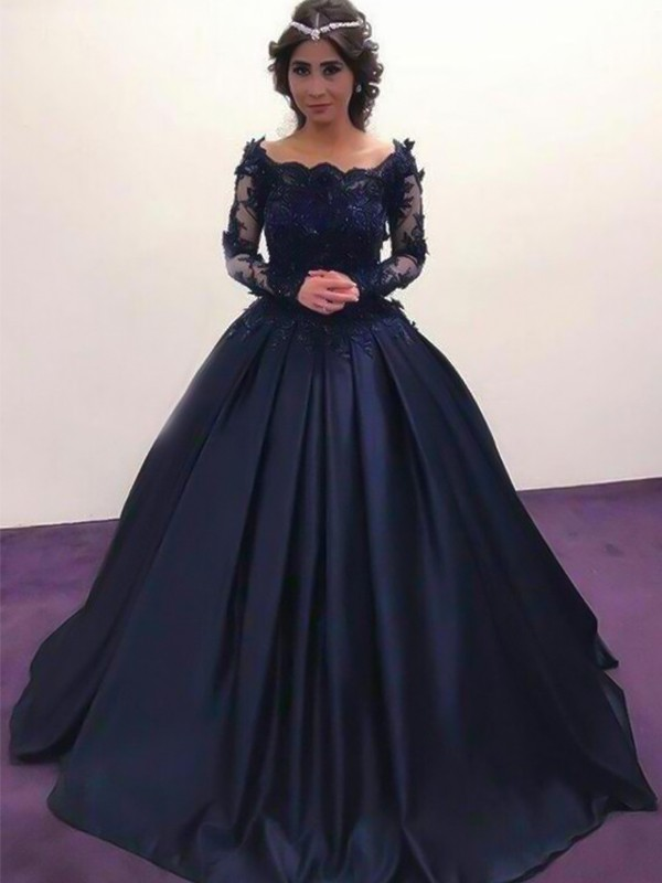 Elegant Ball Gown Bateau Long Sleeves Sweep/Brush Train Satin Dress
