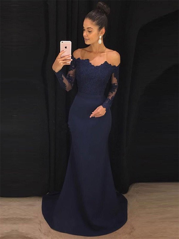 Discount Mermaid Off-the-Shoulder Long Sleeves Sweep/Brush Train Lace Satin Dress