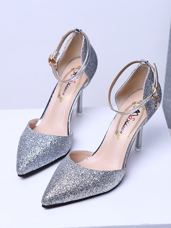 New Women Girls Closed Toe Sparkling Glitter Stiletto Heel High Heels